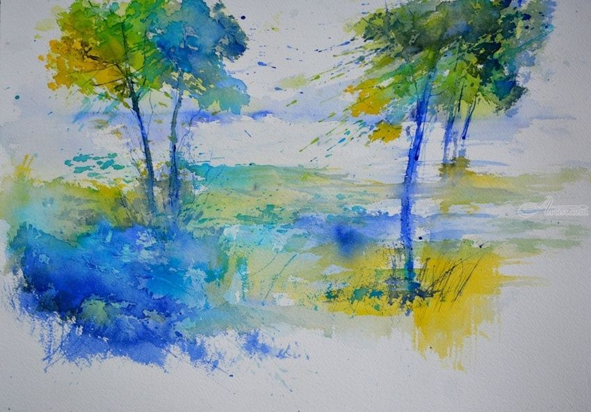 watercolor 465, Paintings, Impressionism, Landscape, Canvas, By Pol Henry Ledent