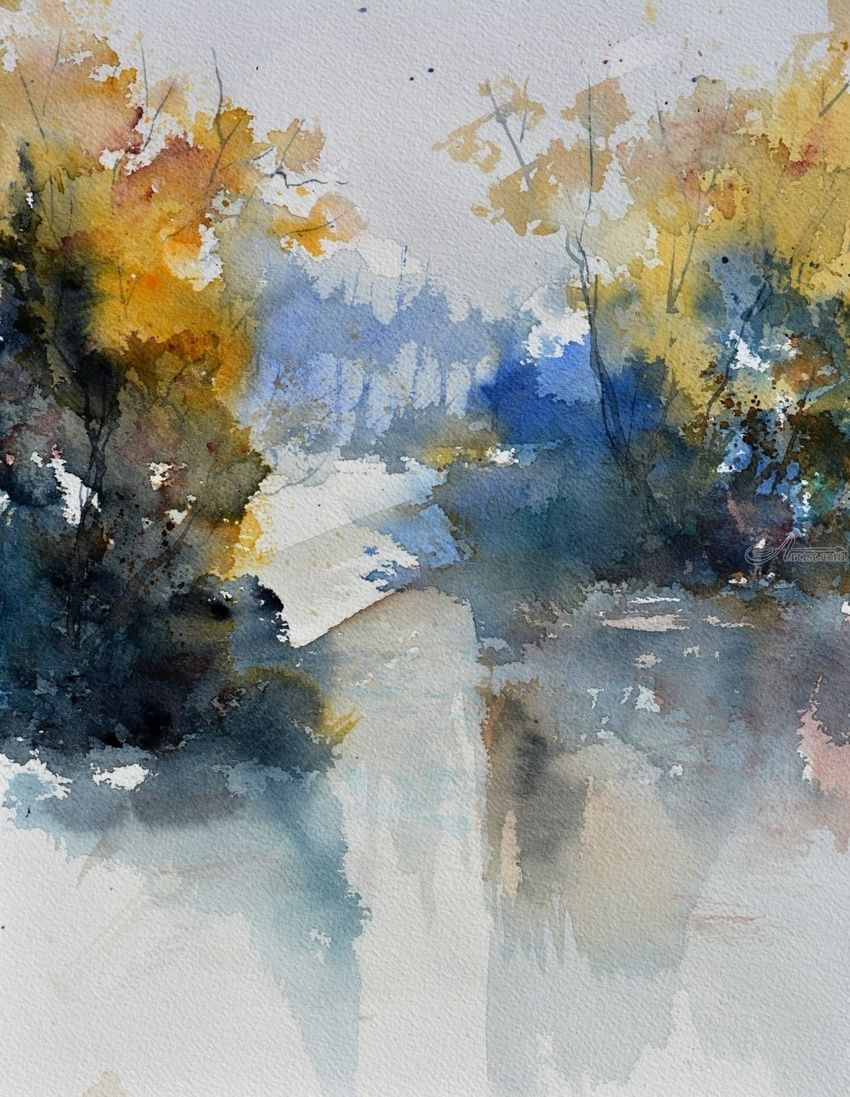 watercolor 513003, Paintings, Impressionism, Landscape, Watercolor, By Pol Henry Ledent