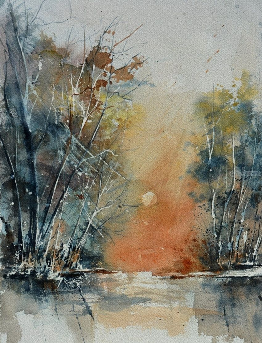 watercolor 513080, Paintings, Impressionism, Landscape, Watercolor, By Pol Henry Ledent