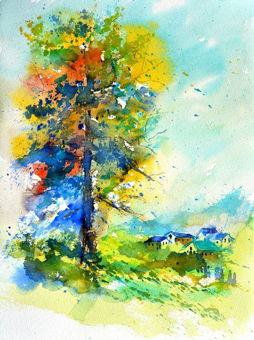 watercolor 515042, Paintings, Impressionism, Landscape, Watercolor, By Pol Henry Ledent