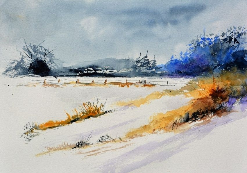 watercolor 516003, Paintings, Impressionism, Landscape, Watercolor, By Pol Henry Ledent