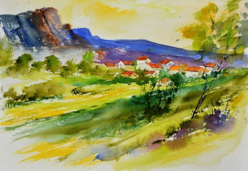WATERCOLOR 516052, Paintings, Impressionism, Landscape, Watercolor, By Pol Henry Ledent