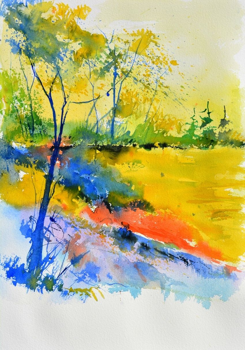 watercolor 516082, Paintings, Impressionism, Landscape, Watercolor, By Pol Henry Ledent