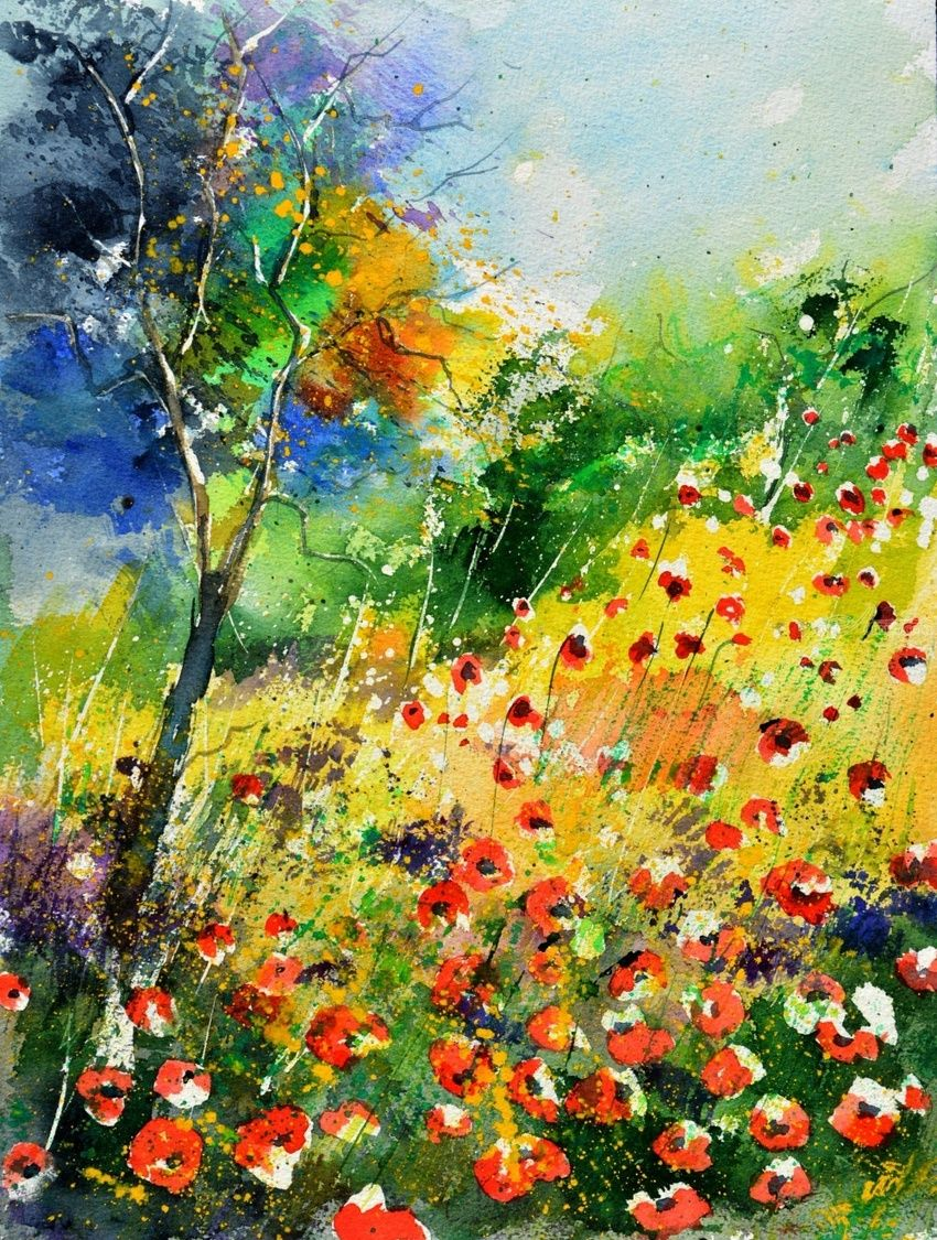 watercolor 518010, Paintings, Impressionism, Floral, Watercolor, By Pol Henry Ledent