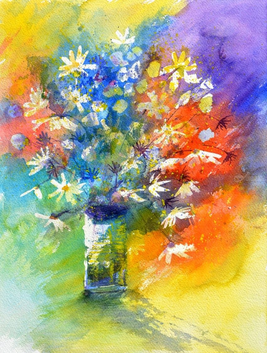 watercolor 518020, Paintings, Impressionism, Floral, Watercolor, By Pol Henry Ledent