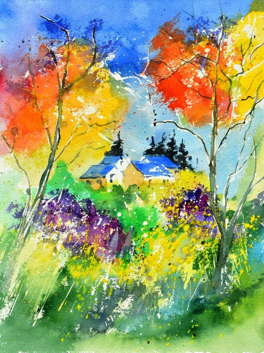 Watercolor 518030, Paintings, Impressionism, Landscape, Watercolor, By Pol Henry Ledent