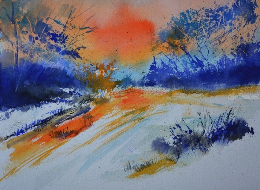 watercolor 611061, Paintings, Expressionism, Landscape, Watercolor, By Pol Henry Ledent