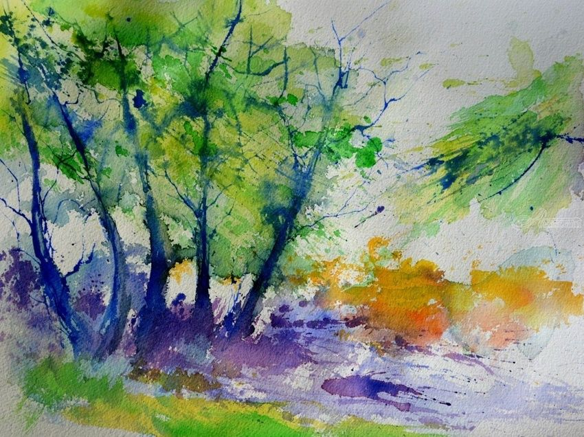 watercolor 613020, Paintings, Impressionism, Landscape, Watercolor, By Pol Henry Ledent