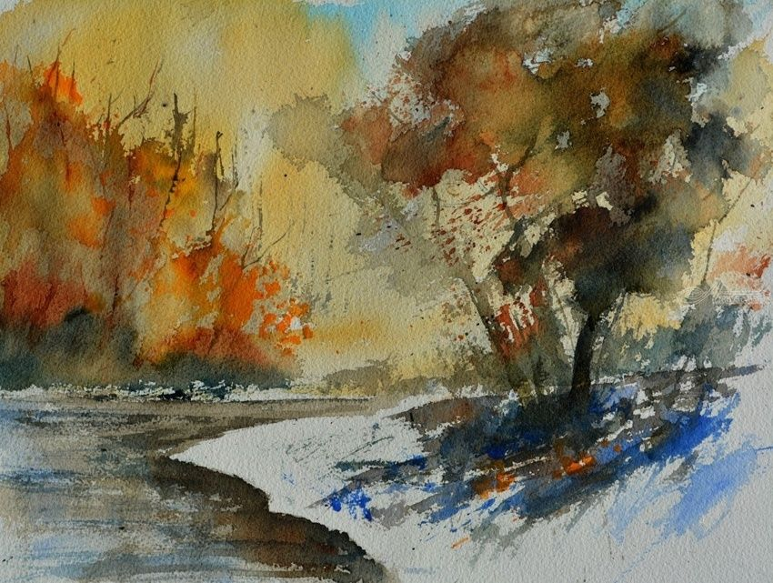 watercolor 613021, Paintings, Impressionism, Landscape, Watercolor, By Pol Henry Ledent
