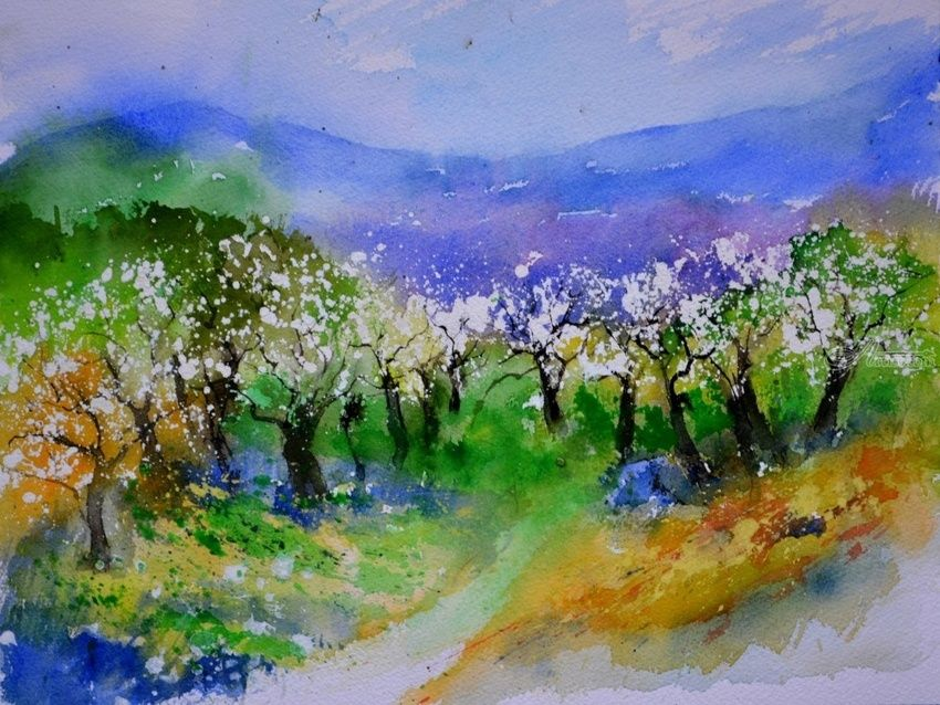 watercolor 613040, Paintings, Impressionism, Landscape, Watercolor, By Pol Henry Ledent