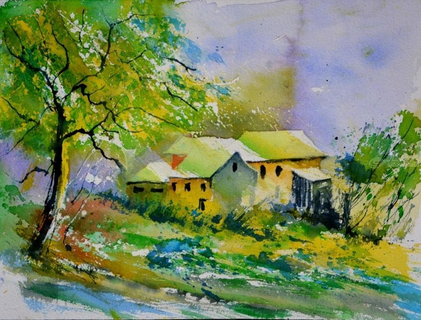 watercolor 616008, Paintings, Impressionism, Landscape, Watercolor, By Pol Henry Ledent