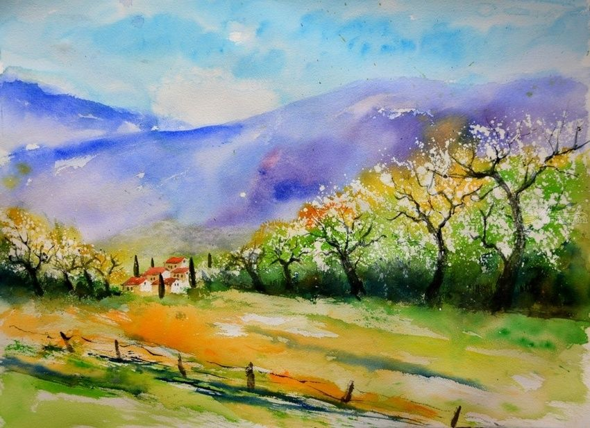 watercolor 68613060, Paintings, Impressionism, Landscape, Watercolor, By Pol Henry Ledent