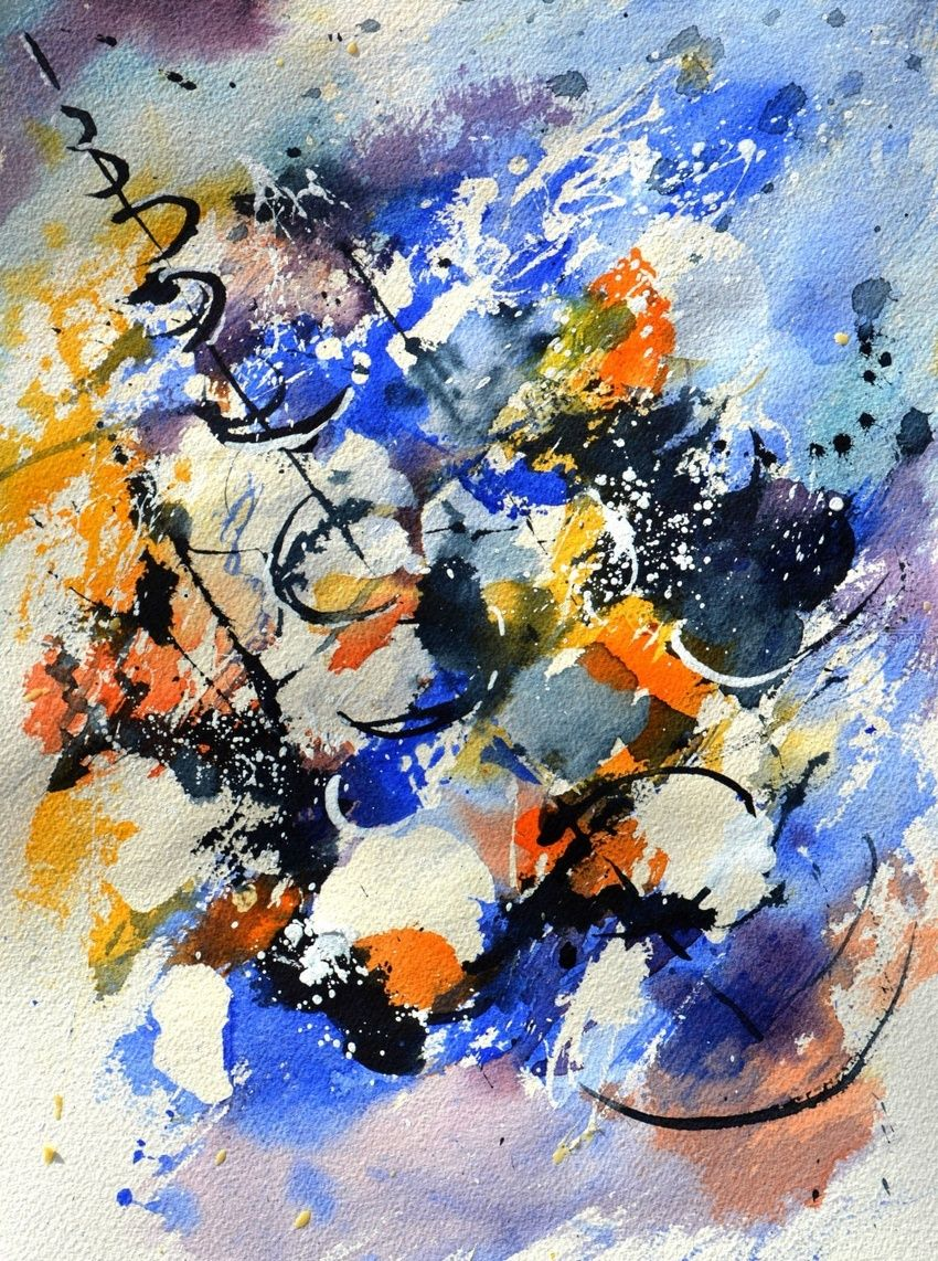 watercolor 716022, Paintings, Abstract, Decorative, Watercolor, By Pol Henry Ledent