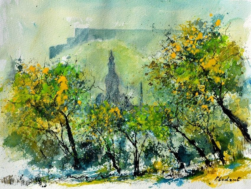watercolor dinant, Paintings, Impressionism, Landscape, Watercolor, By Pol Henry Ledent