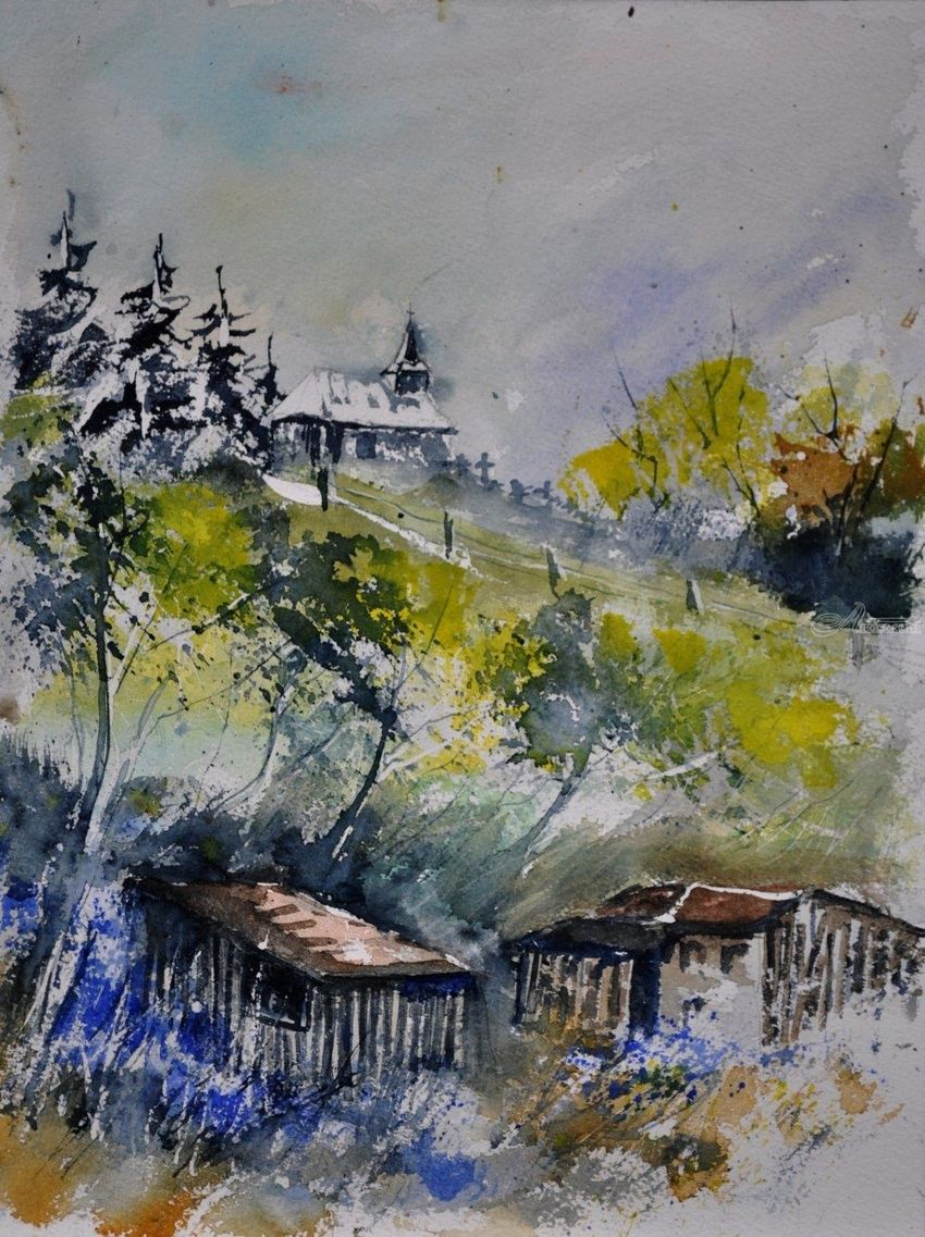 Watercolor old chapel in Houroy, Paintings, Impressionism, Landscape, Watercolor, By Pol Henry Ledent