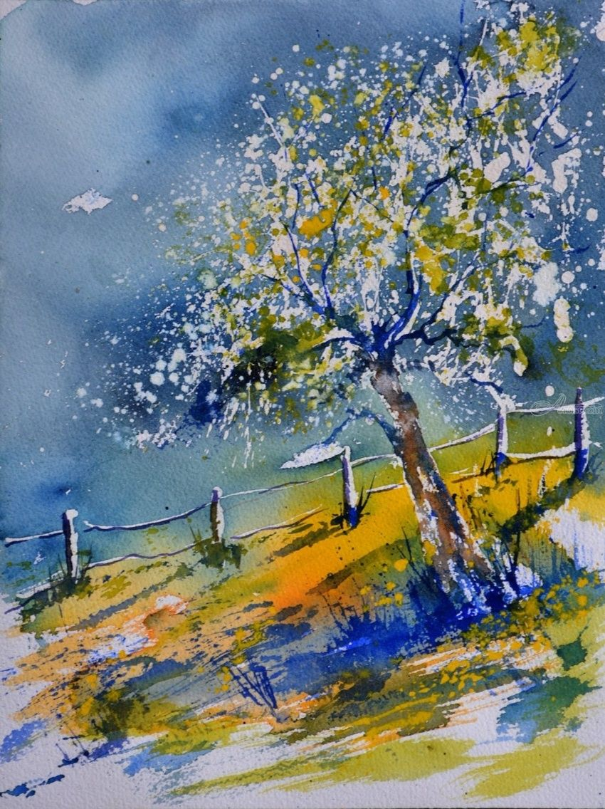 watercolor spring 71, Paintings, Impressionism, Landscape, Watercolor, By Pol Henry Ledent
