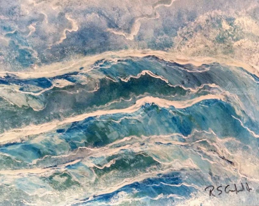 Wave-excitment, Decorative Arts, Paintings, Expressionism, Impressionism, Seascape, Acrylic, Mixed, Painting, By Robert Samuel Crawford