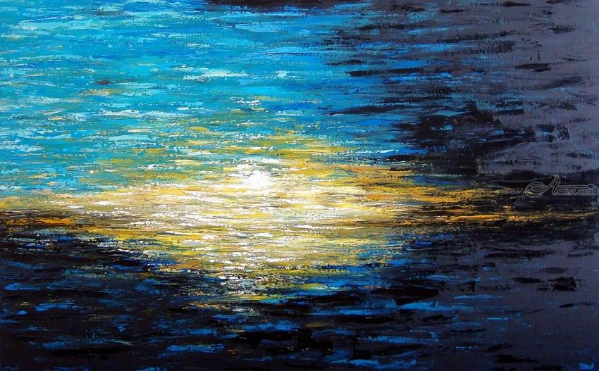 When the Dusk is Coming, Paintings, Abstract, Existentialism, Modernism, Nature, Seascape, Acrylic, By Tanya Hansen