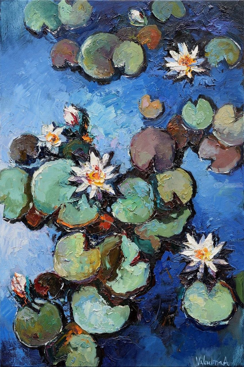 White water lilies Original oil painting 60 x 90 cm, Paintings, Fine Art,Impressionism, Floral, Oil, By Anastasiya Valiulina