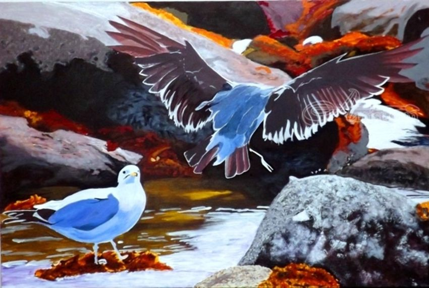 Wide Spread Wings in Flight, Paintings, Realism, Animals,Nature, Acrylic, By OLIVER MACHADO