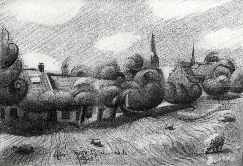 Wijk bij Duurstede – 20-05-19, Drawings / Sketch, Cubism, Fine Art, Impressionism, Realism, Animals, Architecture, Cityscape, Composition, Figurative, Inspirational, Landscape, Nature, Pencil, By Corne Akkers