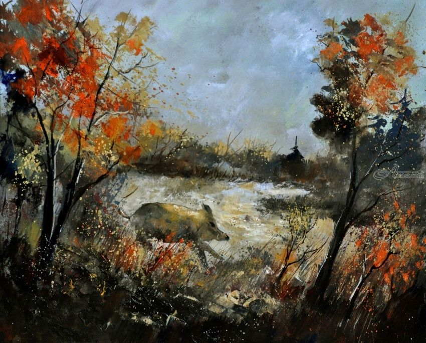 Wild boar, Paintings, Expressionism, Animals, Landscape, Canvas, By Pol Henry Ledent