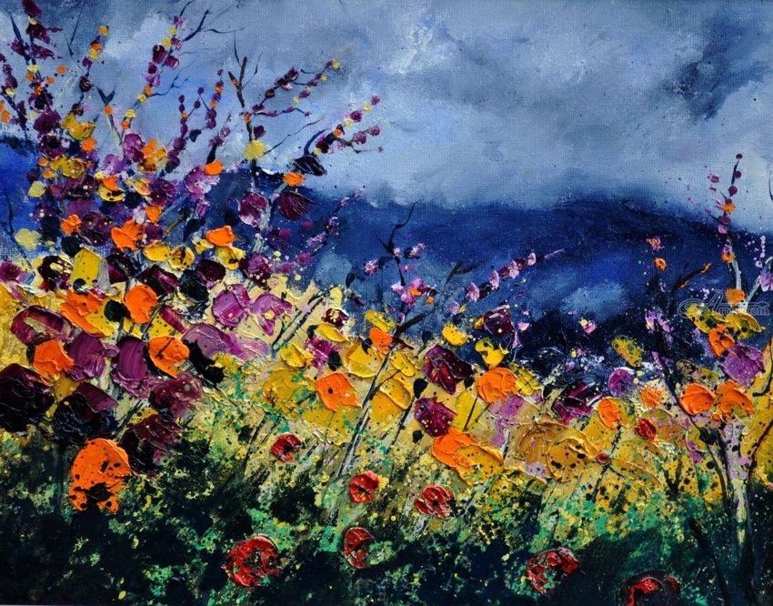 wild flowers 4531, Paintings, Expressionism, Decorative,Floral, Canvas, By Pol Henry Ledent
