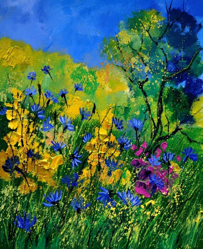 wild flowers 454190, Paintings, Expressionism, Landscape, Canvas, By Pol Henry Ledent