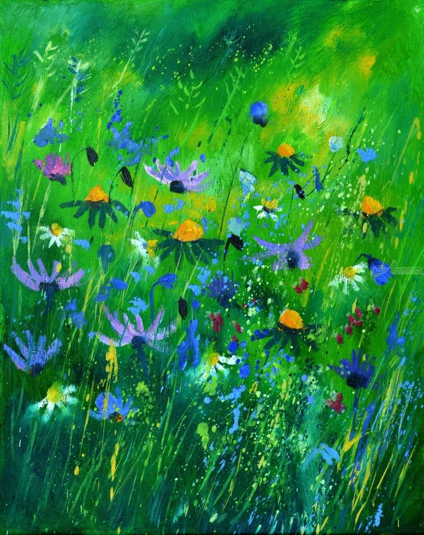 wild flowers 457170, Paintings, Expressionism, Floral, Nature, Canvas, By Pol Henry Ledent