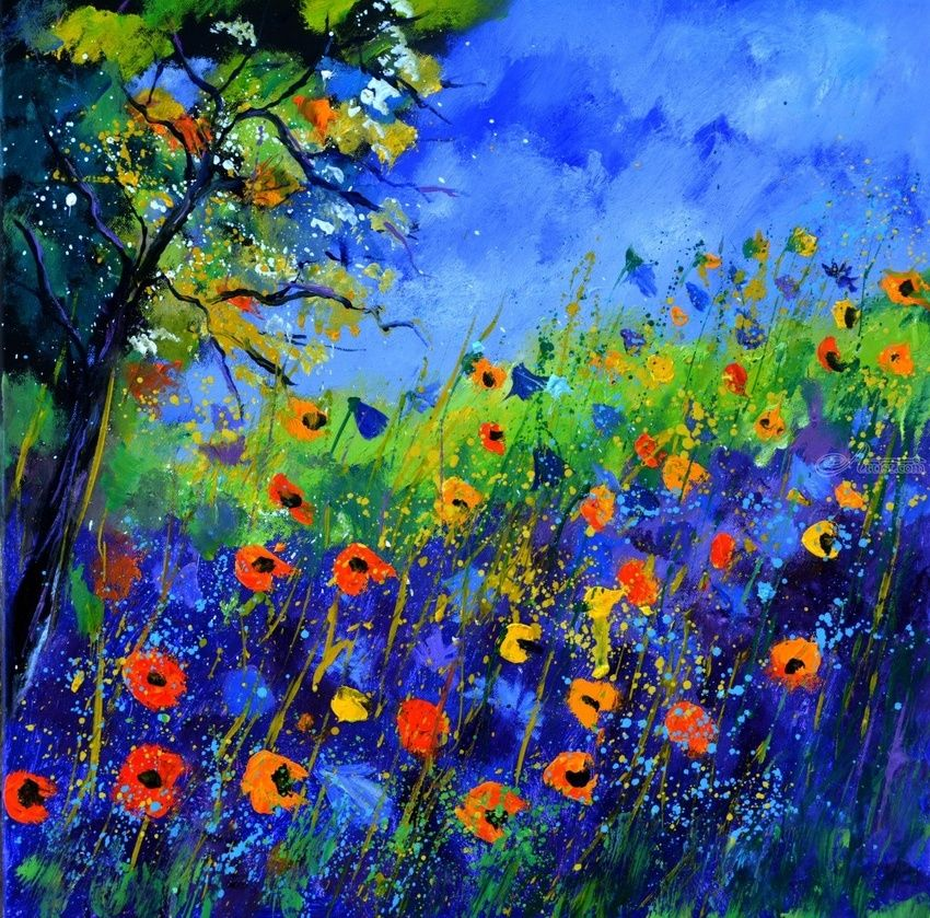 wild flowers 667130, Paintings, Impressionism, Floral, Canvas, By Pol Henry Ledent