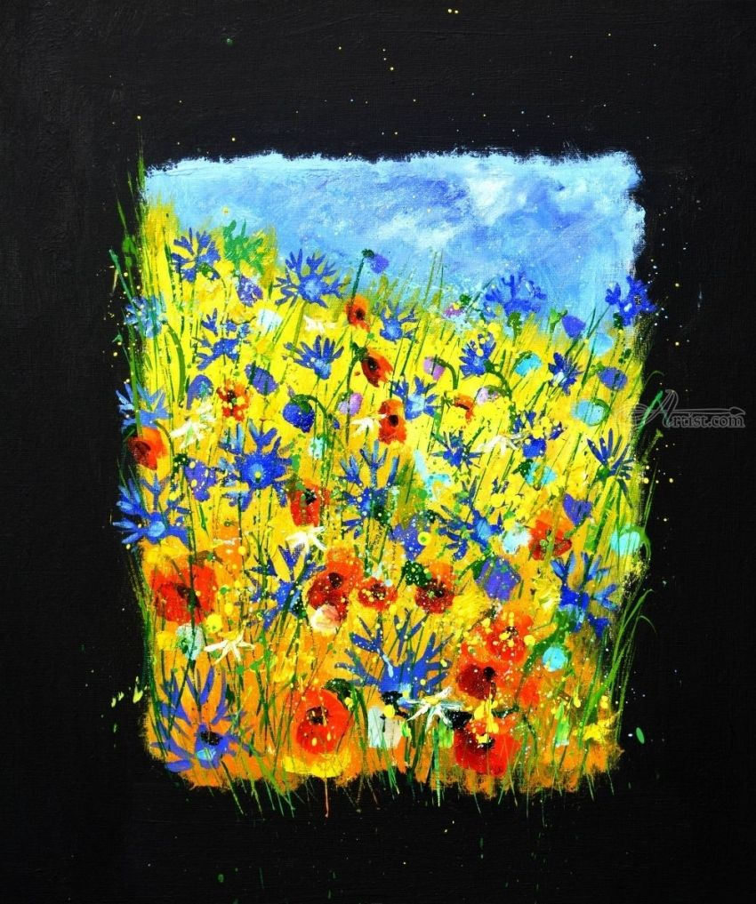 Wild flowers 677130, Paintings, Impressionism, Botanical, Canvas, By Pol Henry Ledent