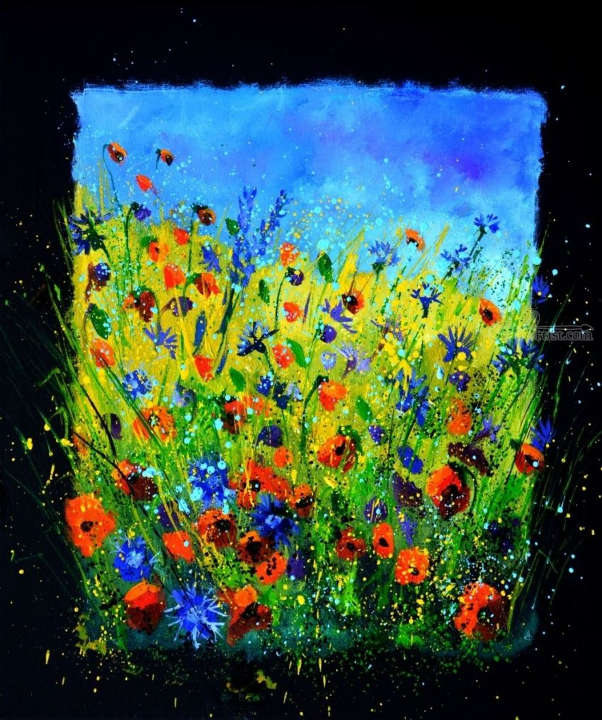 Wild flowers 677140, Paintings, Impressionism, Botanical, Canvas, By Pol Henry Ledent