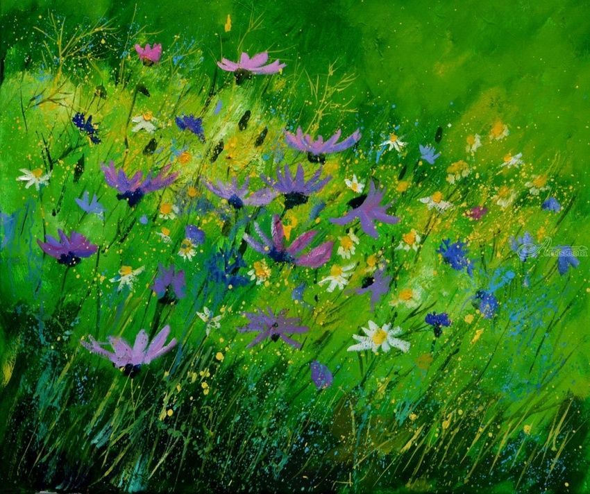 wild flowers 7671, Paintings, Impressionism, Botanical, Canvas, By Pol Henry Ledent
