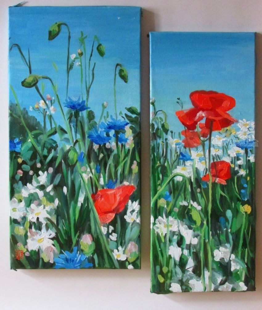 Wild flowers (modular painting), Paintings, Fine Art, Photorealism, Realism, Floral, Canvas, Oil, Painting, By Kateryna Bortsova