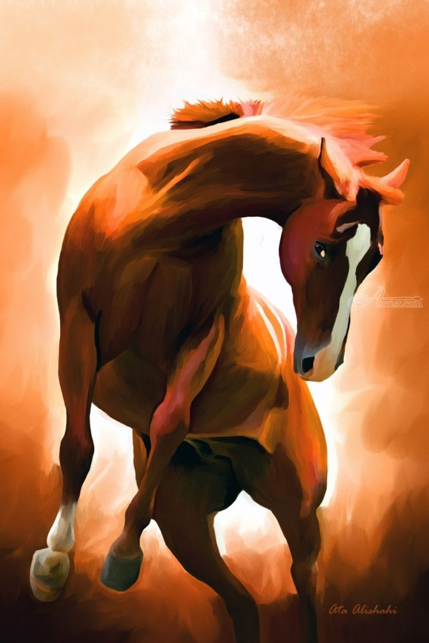 Wild Horse, Digital Art / Computer Art,Paintings,Poster, Existentialism,Fine Art,Realism, Animals,Nature, Canvas,Digital,Painting, By Ata Alishahi