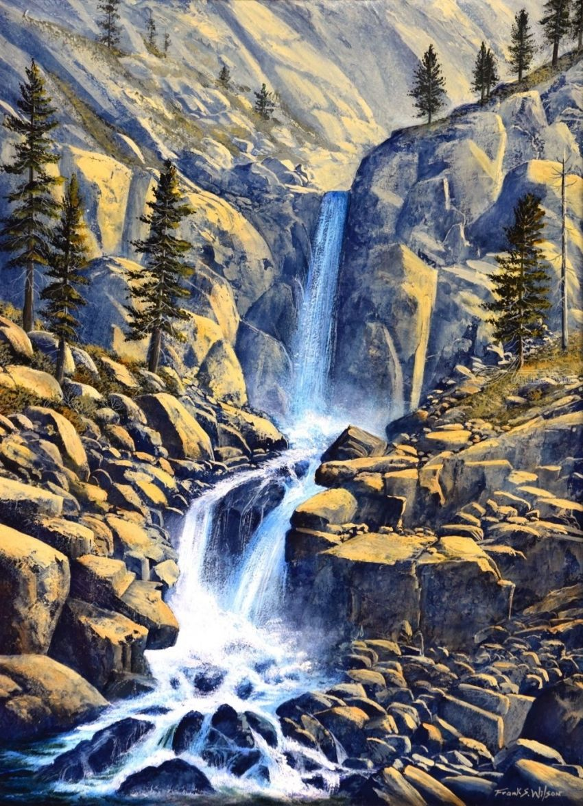 Wilderness Waterfall, Paintings, Realism, Landscape, Oil, Painting, By Frank S. Wilson