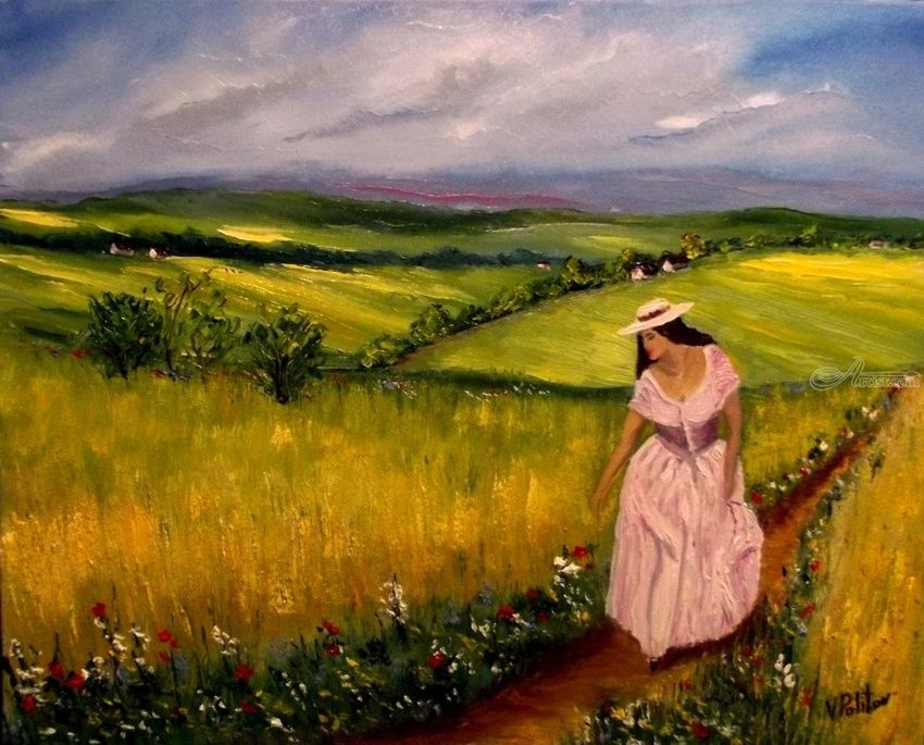 Wildflowers, Paintings, Impressionism, Landscape, Canvas,Oil, By Valeriy Politov