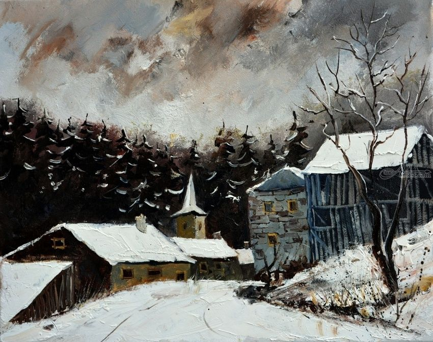 winter 318, Paintings, Impressionism, Botanical, Canvas, By Pol Henry Ledent