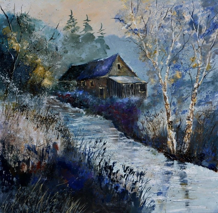 winter 885190, Paintings, Impressionism, Landscape, Canvas, By Pol Henry Ledent