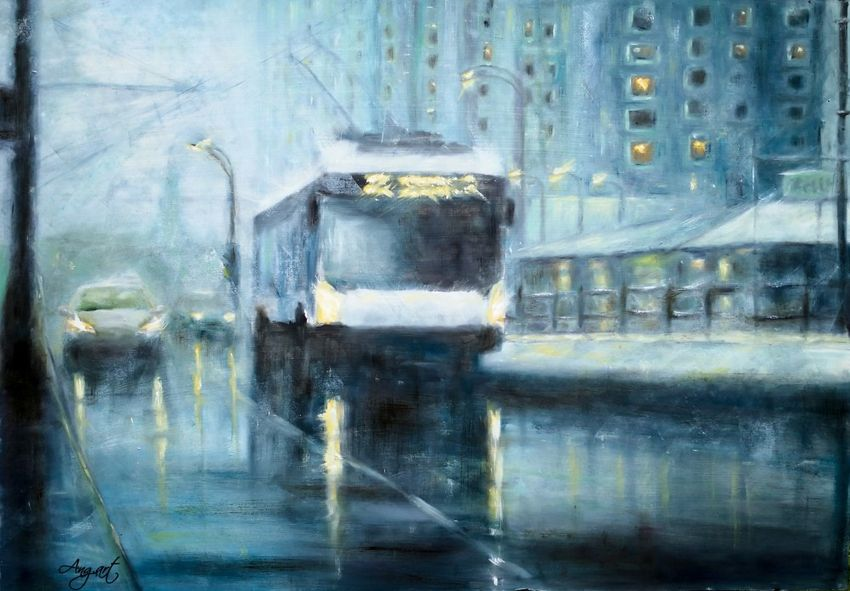 Winter City, Paintings, Fine Art, Impressionism, Cityscape, Oil, Wood, By Angela Suto