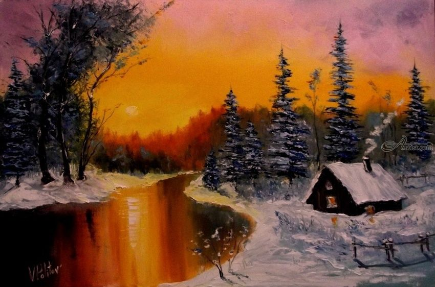 Winter's Tale, Paintings, Impressionism, Landscape, Canvas,Oil, By Valeriy Politov