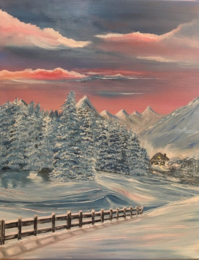 Winter Serenade, Paintings, Fine Art, Landscape, Oil, By victoria osley