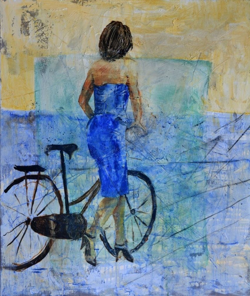 With her bicycle, Paintings, Expressionism, Figurative, Canvas, By Pol Henry Ledent