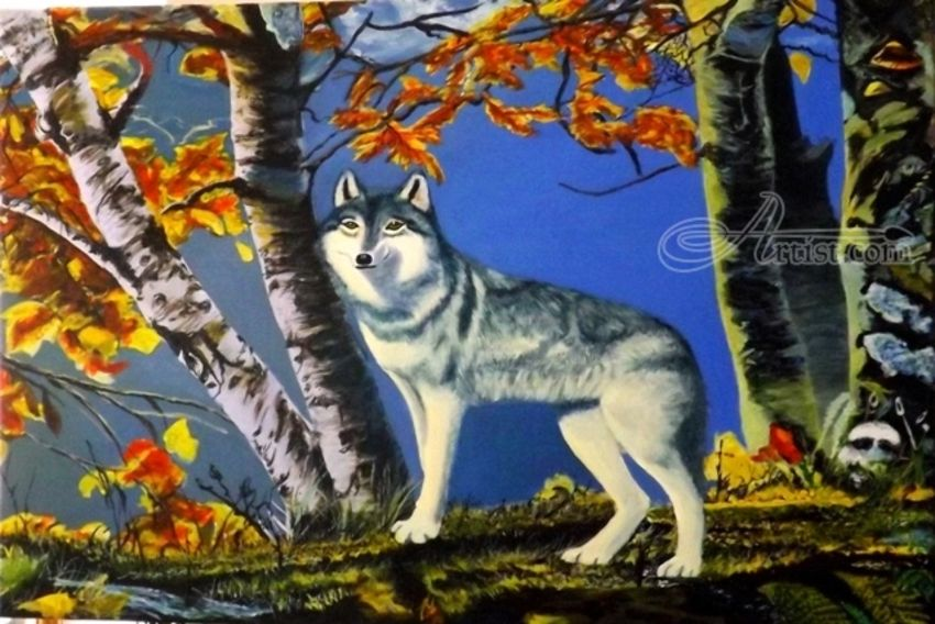 Wolf Among Oak Trees in Autumn, Paintings, Realism, Animals,Nature,Wildlife, Acrylic, By OLIVER MACHADO