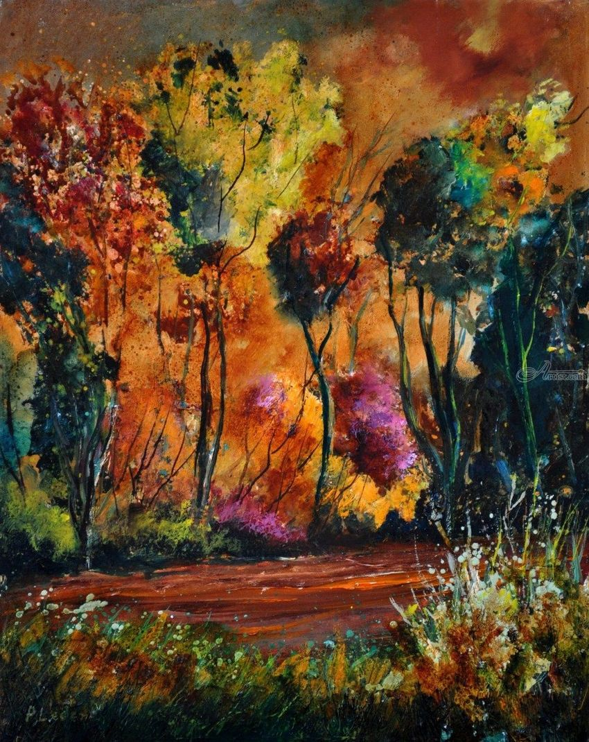 Wood in Houroy, Paintings, Expressionism, Landscape, Oil, By Pol Henry Ledent