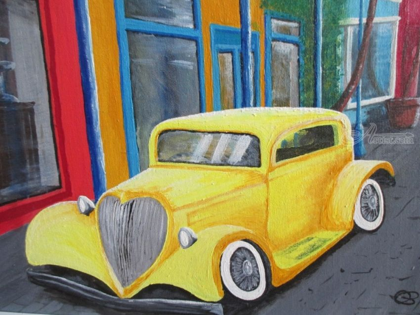 Yellow Car, Paintings, Fine Art,Impressionism,Surrealism, Composition, Acrylic,Canvas, By Ann Biddlecombe