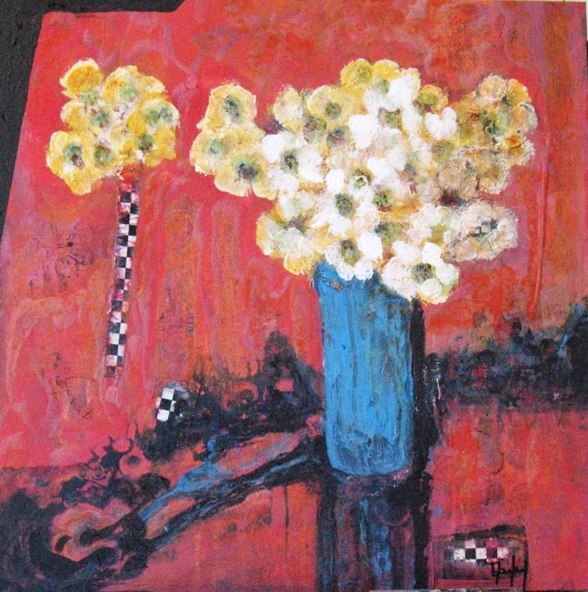 Yellow Flowers Blue Vase Paintings By Beverly Farley Artist