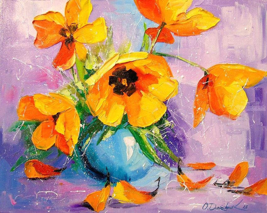 Yellow tulips, Paintings, Impressionism, Botanical,Floral,Nature, Canvas,Oil,Painting, By Olha   Vyacheslavovna Darchuk