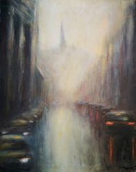 Budapest mood, Paintings, Impressionism, Cityscape, Oil,Wood, By Angela Suto