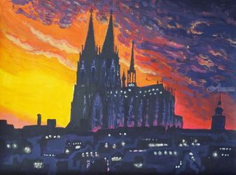 *Cologne Cathedral*(acrylic on<br>paper), Paintings, Fine Art, Landscape, Acrylic, By Victoria Trok